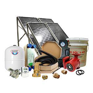 Solar Hot Water Retrofit Kit - 4 Flat Plat Collectors